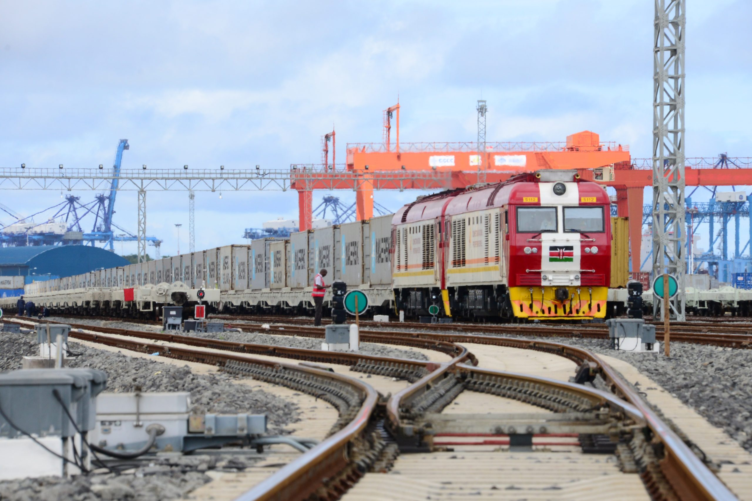 Goldfields Logistics Ltd SGR cargo train loaded with Maersk containers destined to Nairobi ICD